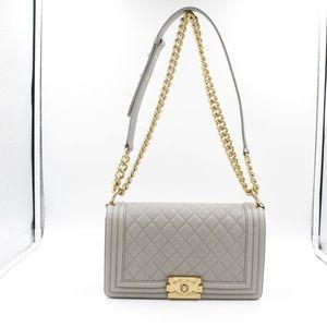 169bd70b09579c CHANEL Bags | Grey Caviar Goldtone Metal Medium Boy Bag | Poshmark